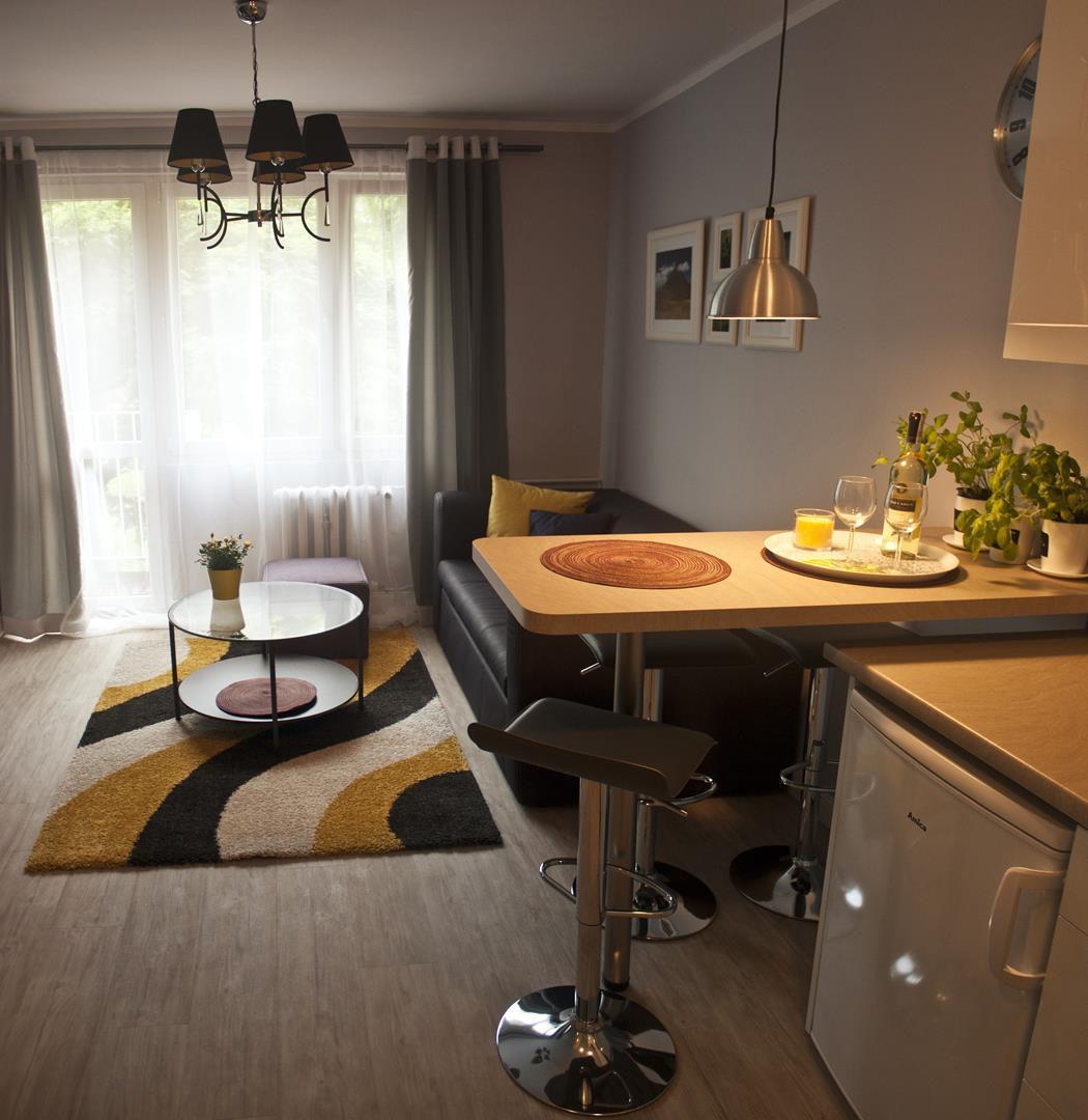 apartament z salonem i barkiem